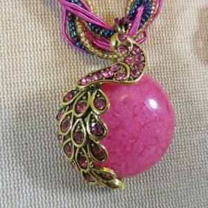 Collier lune rose paon bohème – cadeaux bijoux femme