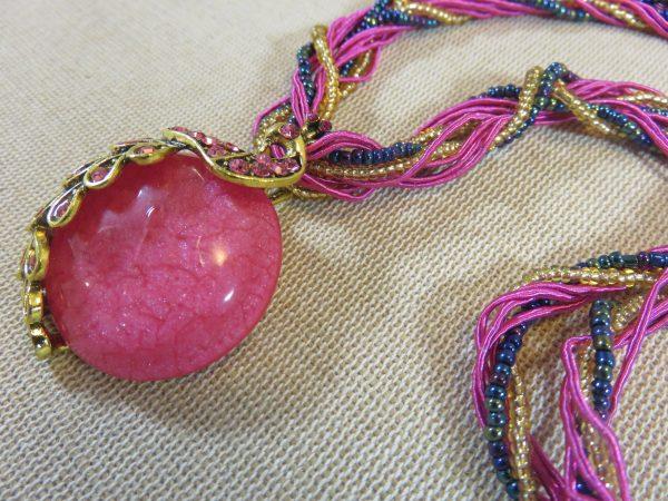 Collier lune rose paon bohème - cadeaux bijoux femme