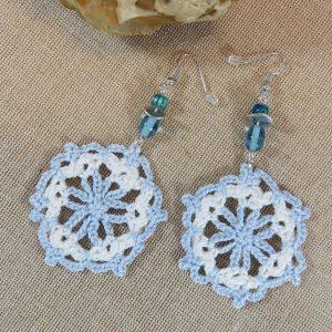 Boucles d'oreille crocheté flocon textile – Bijoux unique pour femme
