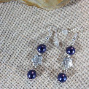 Bohème boucles d'oreille violette fleuri – cadeaux bijoux pour maman