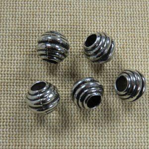 Perles acrylique ressort métallisé gros trou – lot de 5