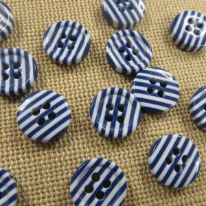 Boutons rayé bleu blanc 11mm style petit marin – lot de 20
