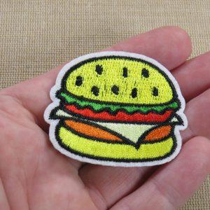 Patch Hamburger écusson thermocollant 50mm pour vêtement