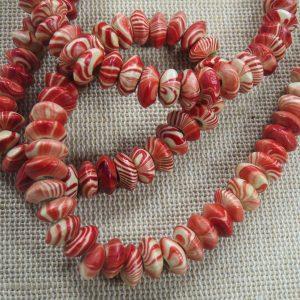 Perles abaque en bois zébré rouge 8mm – lot de 15