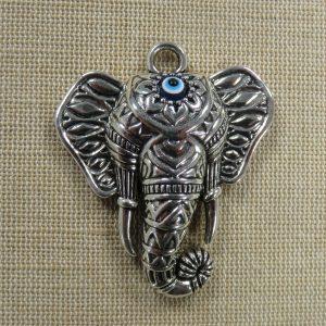 Pendentif éléphant Ganesh argenté vieilli 55mm