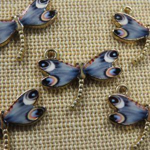 Pendentifs libellule breloque métal émaillé 22mm – lot de 5