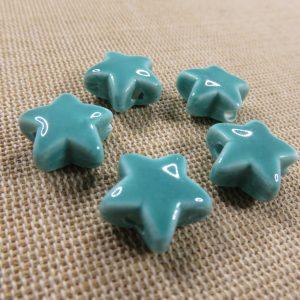 Perles étoile céramique vert d'eau 15mm – lot de 5