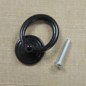 Poignée anneau de tiroir noir meuble style rétro