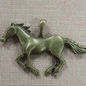 Pendentif cheval galop bronze 63mm en métal