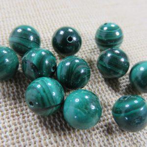 Perles Malachite B 8mm pierre de gemme – lot de 8