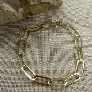 Bracelet punk chaine Or métal inoxydable – bijoux mixte femme homme