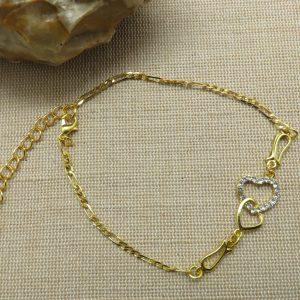Chaine de cheville cœur strass – bijoux de plage femme