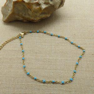 Chaine de cheville perlé bleu – bijoux de plage femme