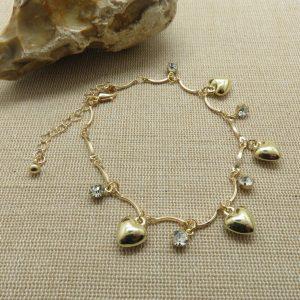 Chaine de cheville cœur doré – bijoux de plage femme