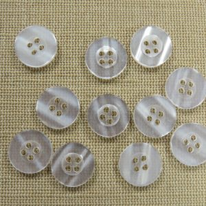 Boutons gris 15mm rond bouton de couture – lot de 15
