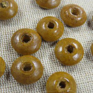 Perles rondelle en bois marron 14mm – lot de 15