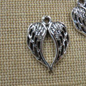 Pendentifs Aile d'Ange argenté 21mm en métal – lot de 2