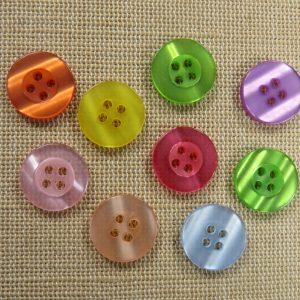 Boutons multicolore 15mm rond bouton de couture – lot de 15