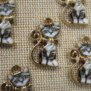 Pendentifs chat gris métal émaillé 21mm – lot de 5