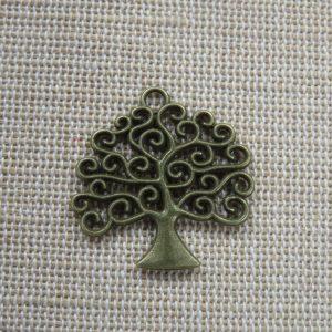 Pendentif arbre de vie bronze breloque ajouré 26mm