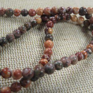 Perles Jaspe Léopard rouge 4mm pierre de gemmes – lot de 10