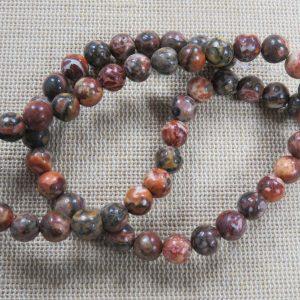 Perles Jaspe Léopard rouge 6mm pierre de gemmes – lot de 10