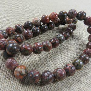 Perles Jaspe Léopard rouge 8mm pierre de gemmes – lot de 10