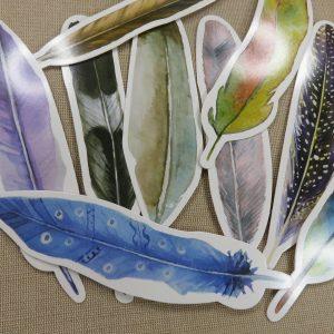 Plume carton à coller scrapbooking – pour décoration mural, bullet journal / 5pcs
