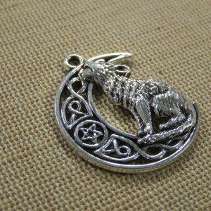 Pendentif loup lune métal argenté vieilli 33mm – grande breloque pour collier