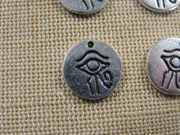 Pendentif œil d'Horus égyptien breloque hiéroglyphe 14mm - lot de 4