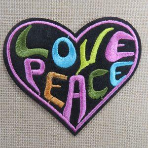 Patch Cœur Love peace thermocollant écusson vêtement Hippie