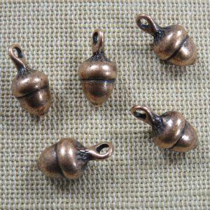 Pendentifs gland de chêne cuivre 18mm en métal – lot de 5