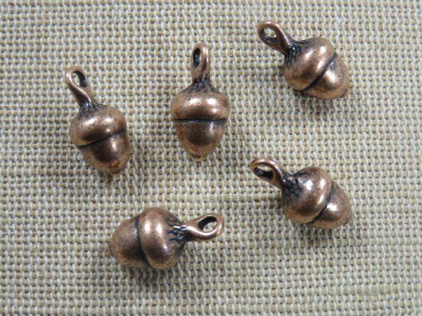 Pendentifs gland de chêne cuivre 18mm en métal - lot de 5