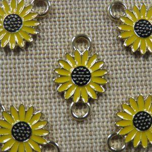 Breloques Tournesol émaillé 22mm pendentif fleur métal – lot de 5