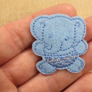 Patch bébé éléphant bleu thermocollant – écusson éléphanteau Bleu pour layette