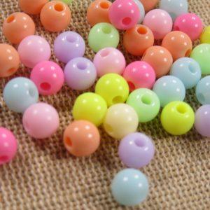 Perles pastel acrylique ronde 6mm bijoux fantaisie – lot de 25