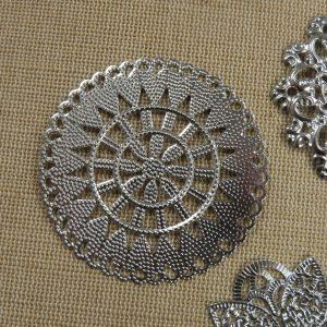 Cabochons mandala fleur grand pendentif argenté – lot de 4