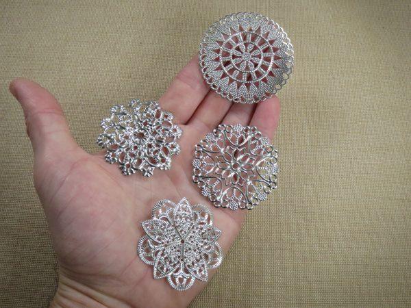 Cabochons mandala fleur grand pendentif argenté - lot de 4