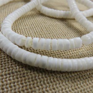 Perles rondelle 4mm coquillage naturelle blanc – lot de 20