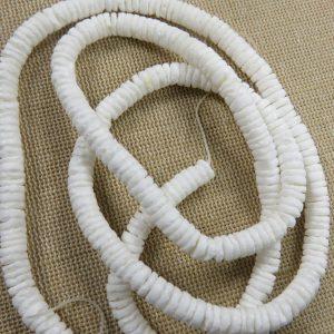 Perles rondelle 6mm coquillage naturelle blanc – lot de 20