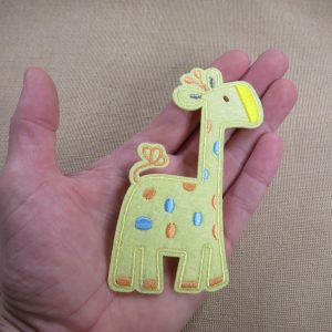 Patch thermocollant girafe, grand écusson appliqué girafe jaune brodé