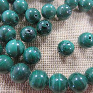 Perles Malachite AAA 8mm pierre de gemme – lot de 5