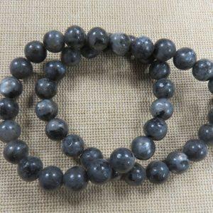 Perles Labradorite noir mat 8mm – lot de 10 pierre de gemme