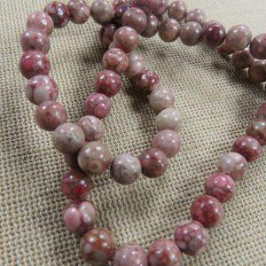 Perles chrysanthème 6mm fossile corail – lot de 10 perle de gemme