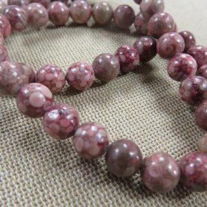 Perles chrysanthème 8mm fossile corail – lot de 10 perle de gemme