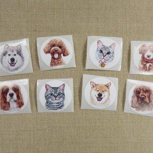 Étiquettes animaux chien chat autocollante stickers rond 25mm – lot de 25