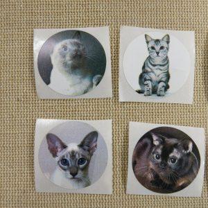 Étiquettes animaux chat autocollante stickers rond 25mm – lot de 25