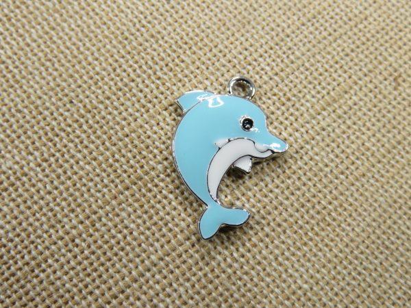 Pendentif dauphin bleu breloque métal émaillé 23mm