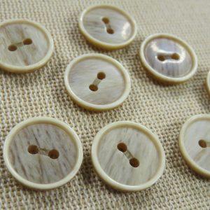 Boutons effet bois résine 15mm rond – lot de 8 boutons de couture
