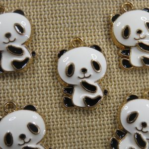 Pendentifs Panda métal émaillé breloque animal 21mm – lot de 5